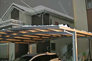 おっとせいGでカーポートの雪降ろし