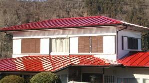 渋川市 金属製の瓦棒葺き屋根塗装工事後