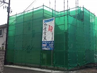 高崎市 金属外壁の塗装 足場