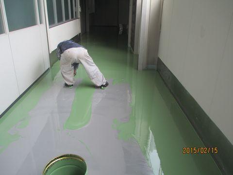 住宅塗装 アサヒペイント 塗り床 上塗り