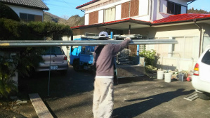 群馬県 前橋市 外壁塗装工事 足場解体作業