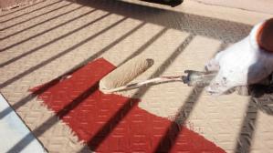 群馬 前橋 塗り替え 縞鋼板塗装 上塗り