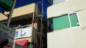 群馬 塗装 アパート店舗塗装 足場組立
