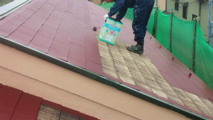 伊勢崎市市場町S様邸 屋根上塗り工事2回目②