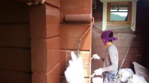 利根郡片品村K様邸 木部の外壁塗装下塗り