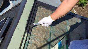 佐波郡玉村町S様邸 屋根塗装上塗り1回目刷毛
