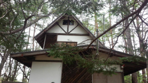 軽井沢町 屋根塗装工事前正面