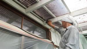 沼田市岡谷町M様邸 テラス塗装前の下地調整