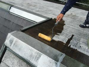 長野県軽井沢町S様邸 屋根塗装下塗り2回目