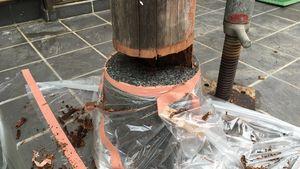 高崎市新町M様邸 玄関柱腐食部分をカット