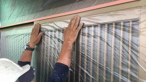 高崎市新町M様邸 外壁塗装前のビニール養生
