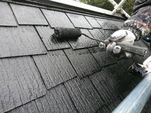 前橋市富士見町K様邸 屋根塗装上塗り2回目