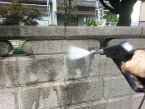 渋川市渋川I様邸 ブロック塀洗浄作業