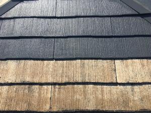 みどり市笠懸町Y様邸 屋根上塗り1回目塗装前後