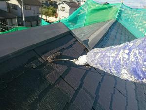伊勢崎市喜多町T様邸 屋根塗装上塗り1回目
