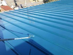 前橋市上泉町J工場様屋根上塗り2回目塗装