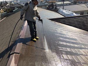 邑楽郡大泉町Aアパート様屋根洗浄作業