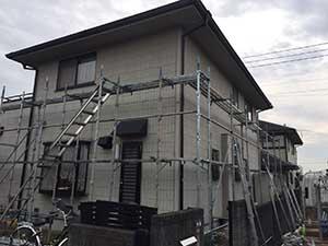 伊勢崎市三室町外壁屋根塗足場