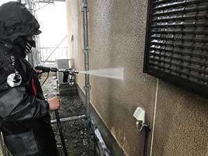 玉村町外壁洗浄作業
