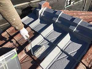 大屋根の下塗り