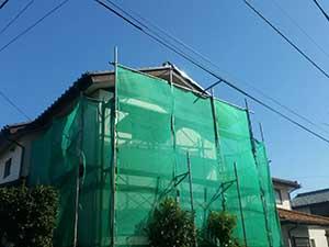 高崎市上中居町 モルタル外壁塗装 足場完成