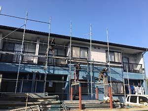 高崎市沖町アパート 外壁塗装 足場設置
