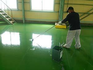 太田市 工場床塗装 上塗り