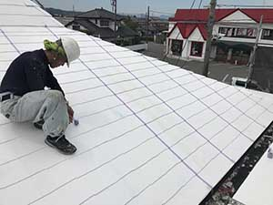 KFC屋根塗装 マスキング
