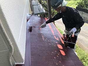 前橋市富士見町 屋根上塗り
