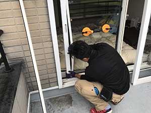 高崎市箕郷町 引き違い窓ガラス修理