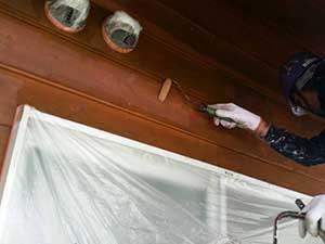 軽井沢南ヶ丘 別荘 キシラデコールで外壁下塗り