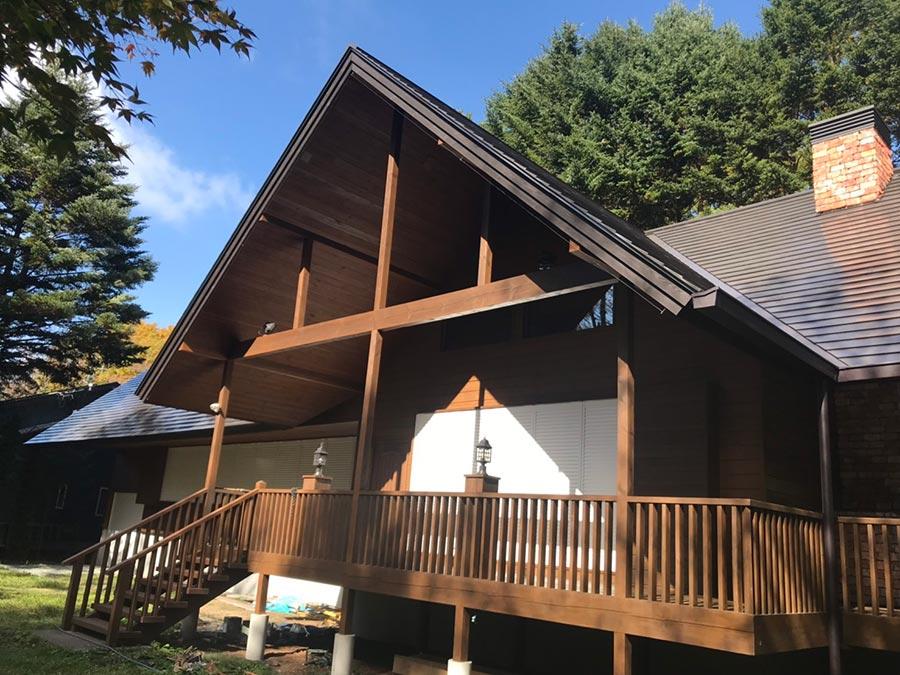 軽井沢町南ヶ丘 別荘外壁屋根塗装工事 施工例