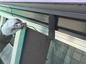 太田市 モルタル外壁塗装 雨樋二回目
