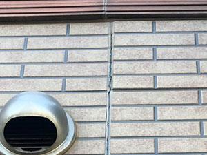 前橋市富士見町 外壁コーキングひび