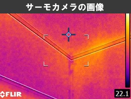 雨漏り箇所をサーモカメラで調査