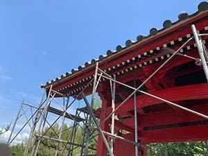 伊勢崎市お寺の山門塗装 洗浄