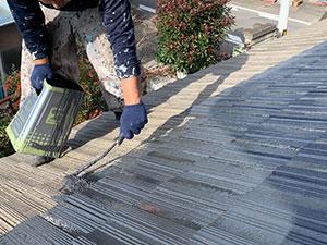 前橋市亀里町屋根塗装 上塗り1回目
