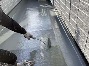 玉村町 ベランダ床塗装トップコート