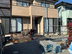 伊勢崎市富塚町 外壁塗装 足場
