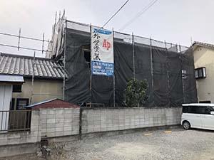 前橋市堤町 モルタル外壁塗装 仮設足場