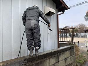前橋市堤町 モルタル外壁塗装 高圧洗浄