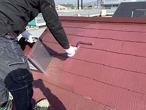 玉村町 コロニアル屋根 上塗り塗装
