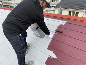 玉村町 コロニアル屋根 中塗り